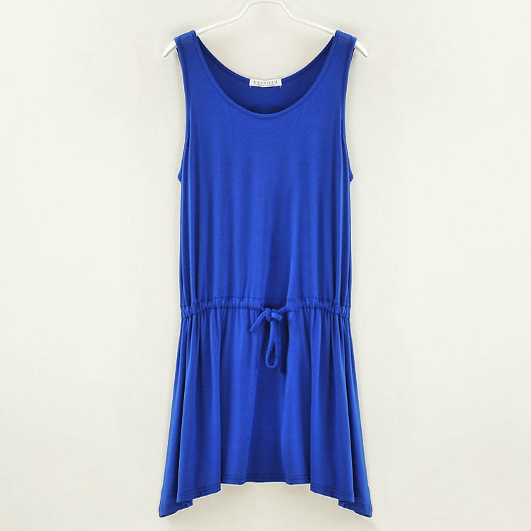 a721206584 US $9.96 14% OFF|Pure color tunic dresses women fashion apparel wholesale  sleeveless tank dress modal facbric ladies clothing free shipping-in  Dresses ...