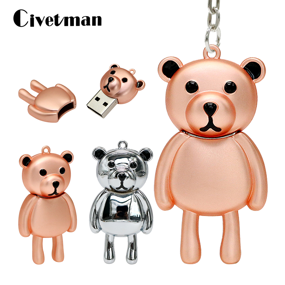 Cute Pen Drive Gloomy Bear USB Flash Drive 64GB Metal Cartoon Animal U Disk 4GB 8GB 16GB 32GB Pendrive Memory Stick Cle Usb