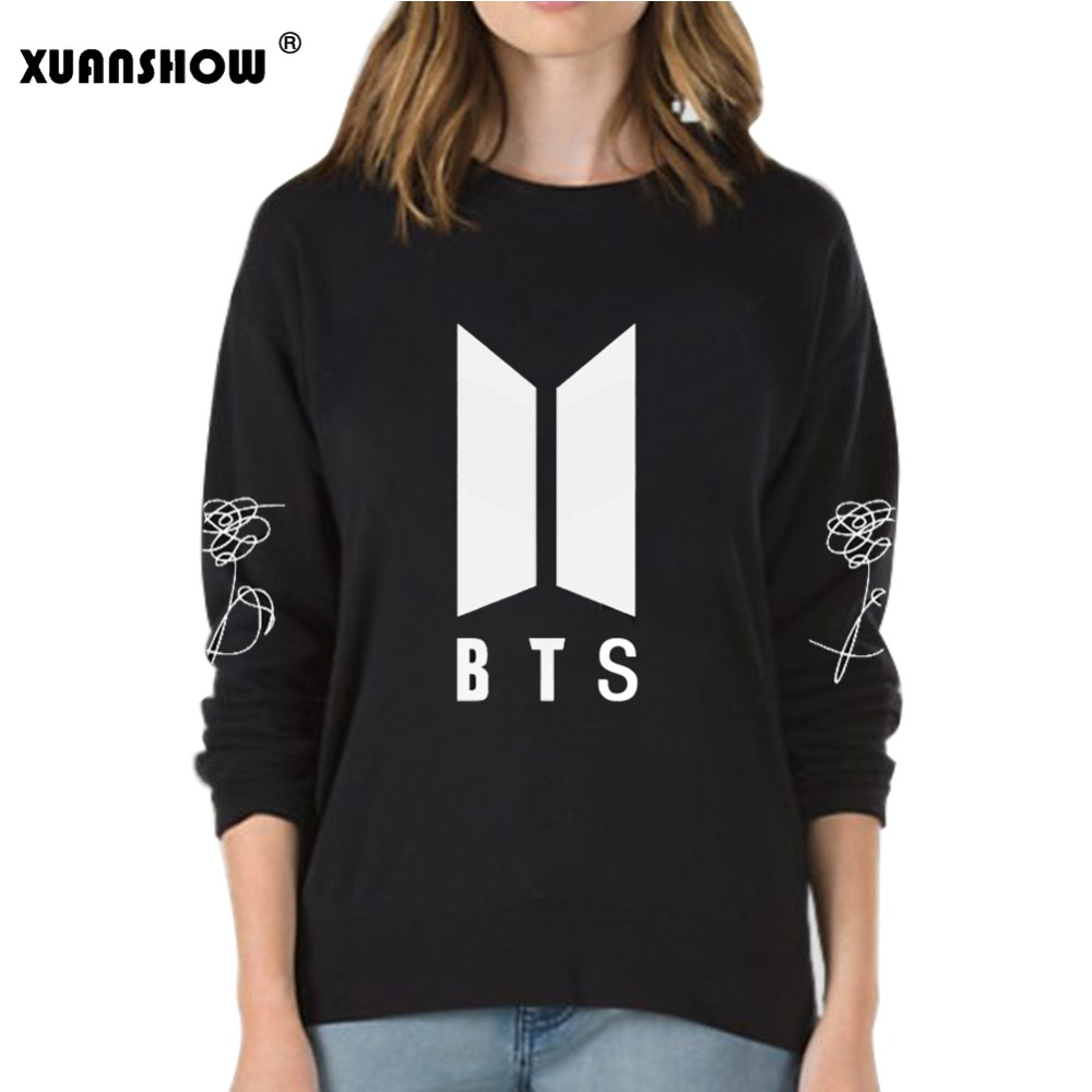 XUANSHOW 2018 Nuovo BTS Bangtan Ragazzi Kpop Album di Amare Se Stessi Risposta Ventole Abbigliamento Casual Lettere Stampate Pullover Magliette e camicette