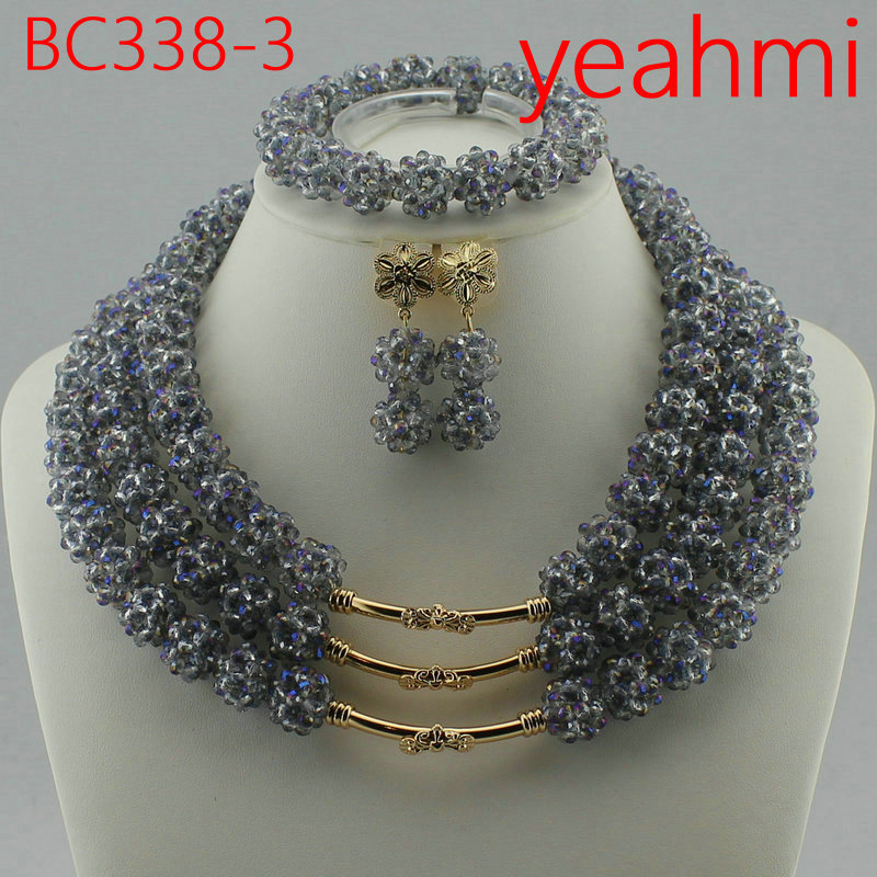 Free Shipping Fashion Nigerian Wedding African Bead Jewelry Set Crystal Necklace Set Party Wedding Dubai Jewelry Set BC338-2 50pcs free shipping bc338 25 bc338 to 92 bipolar transistors