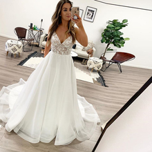 Simple A-line Boho Wedding Dresses Spaghetti Straps Backless Beach Bridal White Ivory Gown robe mariage sirene