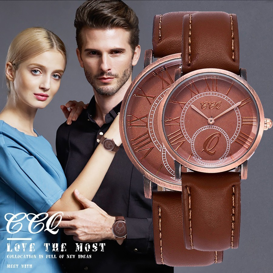 CCQ Brand Lovers Fashion Vintage Leather Super Thin Watches