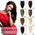 Remy Clip En Extensiones de Cabello Humano 7 Piecese/Set Clip Del Pelo Humano en el Clip En Extensiones de Cabello Natural Cabelo Cheveux Tic Tac 70g