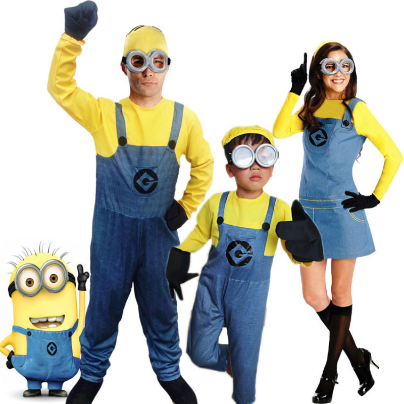 Cosplay For Yellow Minions Movie Despicable Me Adult Costume For Kids Girl Dress Boy Jumpsuits Family Clothes Halloween Carnaval