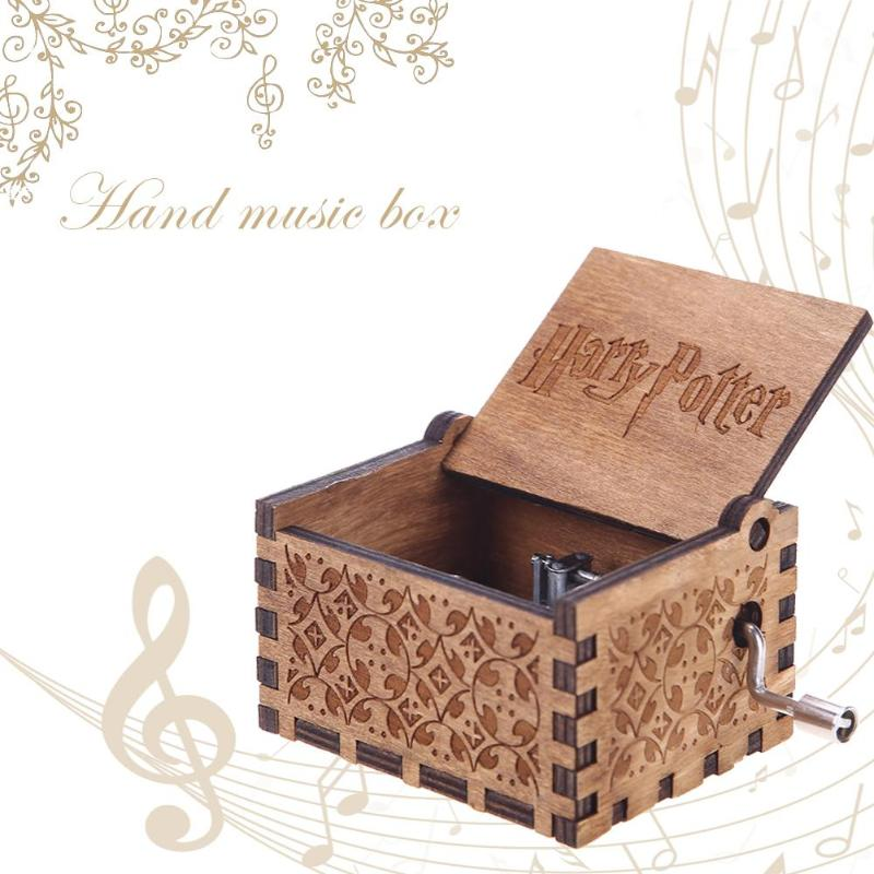 Antique Carved Harry Potter Music Box Game of Thrones Music Box Star Wars Wooden Hand Crank Theme Music Box
