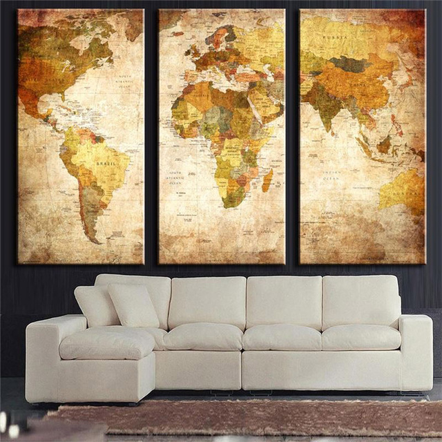 Artryst 3 panel vintage world map canvas painting oil painting print on canvas home decor wall