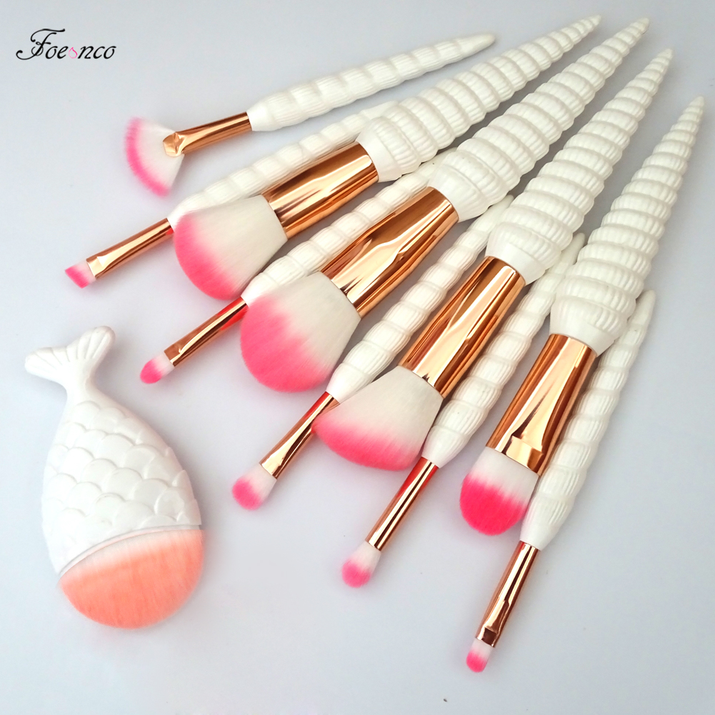 11Pcs Unicorn Conch Shell Makeup Brushes Set Mermaid Foundation Powder Cosmetics Eyeshadow Face Kabuki Make Up Brush Tools Kit цены