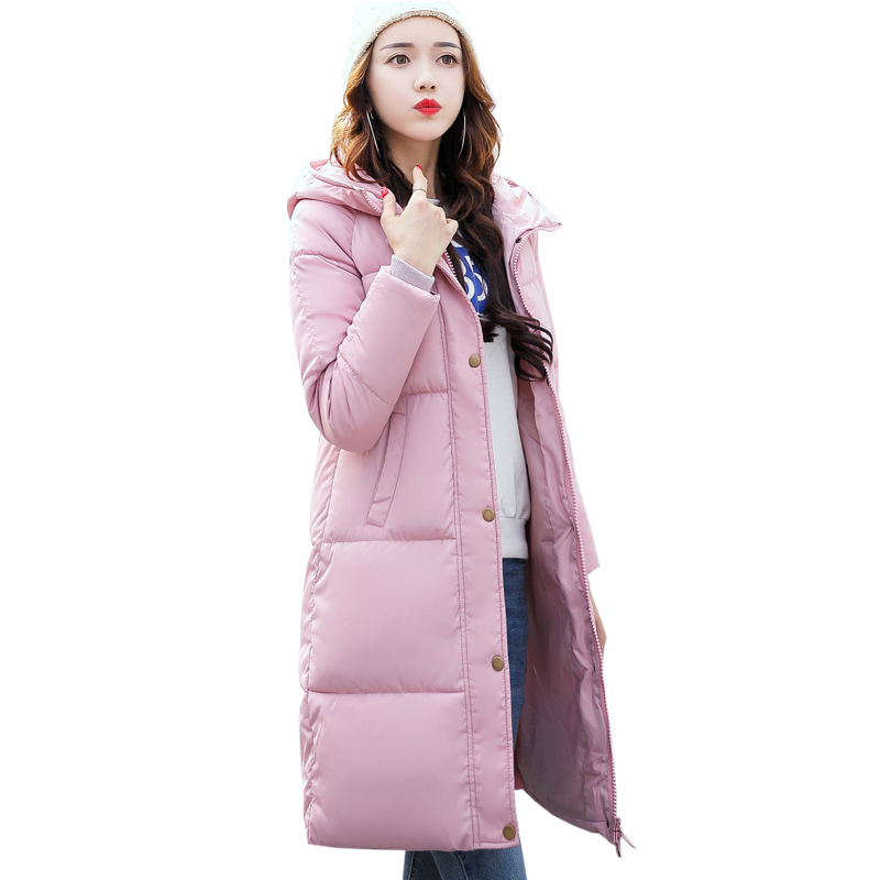 2017 New Solid Winter Jacket Women Hooded Coat Cotton Padded Parkas Long Warm Sweat Girls Cold Outwear Female Down Jacket M-3XL 2017 new women winter coat long quilted jacket thick warm solid color cotton parkas female slim hooded zipper outwear okb88