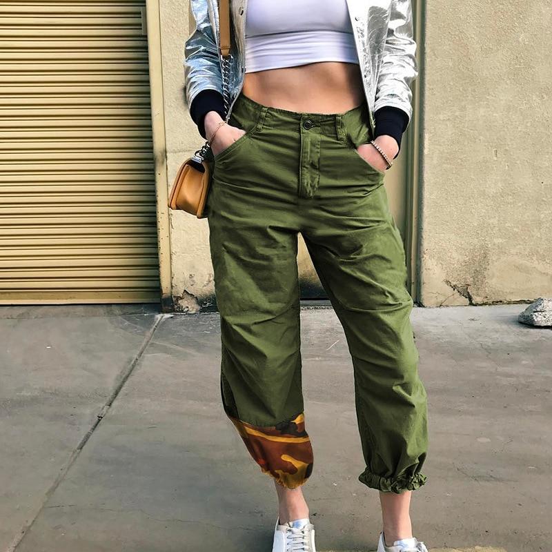 Patchwork Women Pencil Long Pants Button Zipper Mid Waist Trouser 2018 Clothes WS6726U