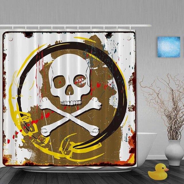 halloween decor badkamer douche gordijnen piraat schedel douchegordijn waterdicht polyester custom badkamer gordijn haken