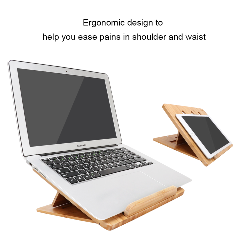 Icozzier Bamboo Foldable Laptop Stand Holder Adjustable