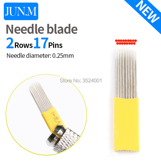 10PCS 0.25mm Round double row 17 pin Needle Eyebrow Makeup Manual Tattoo Blade For Permanent Microblading Embroide
