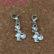 100Pcs/lots Antique silver Alloy mention basket Girl Charms Bead with Lobster clasp Fit Charm Bracelet DIY Jewelry 11.5x36mm