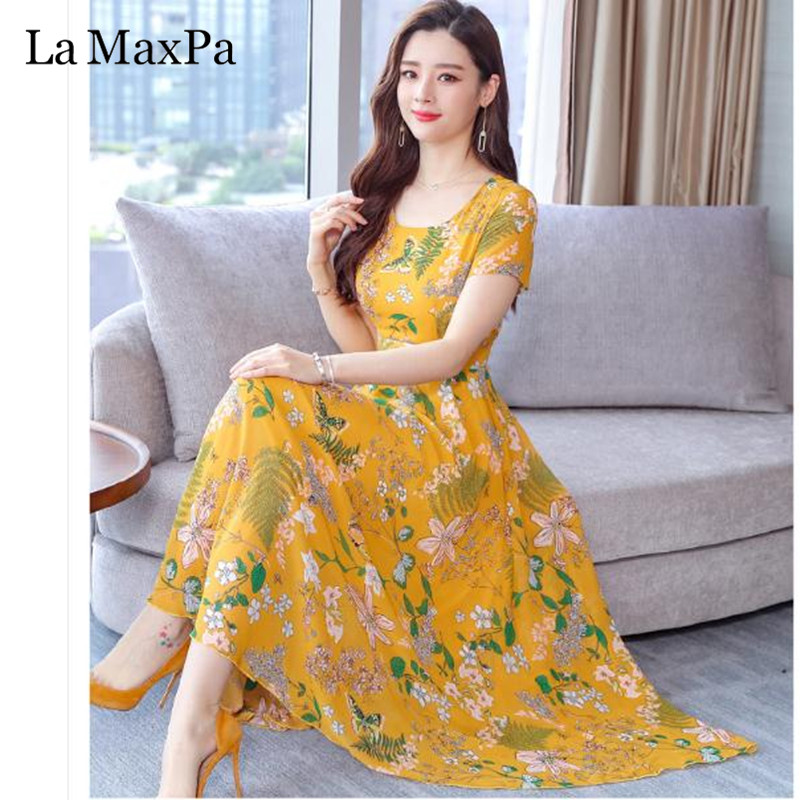 099464d351a55ce La MaxPa платье большого размера s модный принт шифоновое платье 2019 новое  летнее с круглым вырезом А-силуэта 3XL Плюс Размер повседневные платья