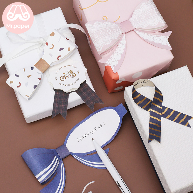 Mr.Paper 2pcs 10 Designs Pop Up Creative Bowknot Tie Medal Cards Thank You Birthday Celebration Gifts Decorative Greeting Cards