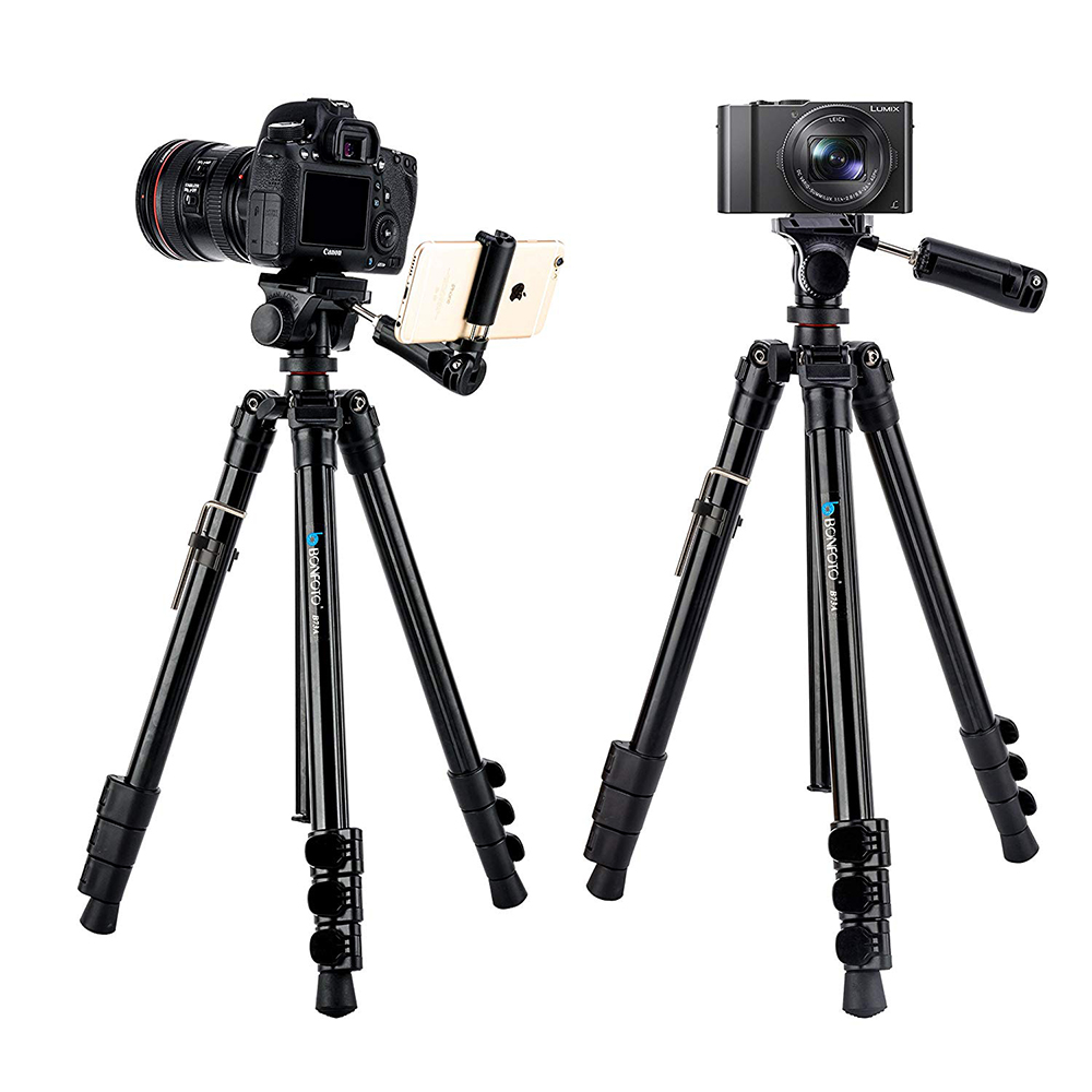 BONFOTO B73A 58 quot Portable Camera Travel Tripod and Monopod Panorama Pan Head Carry Bag for Smartphones DSLR with 1 4 quot Screw in Live Tripods from Consumer Electronics