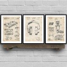 Patentes de grabación de música Vintage Blueprint Posters e impresiones música habitación decoración de pintura artística pared cuadros Bar Retro Poster