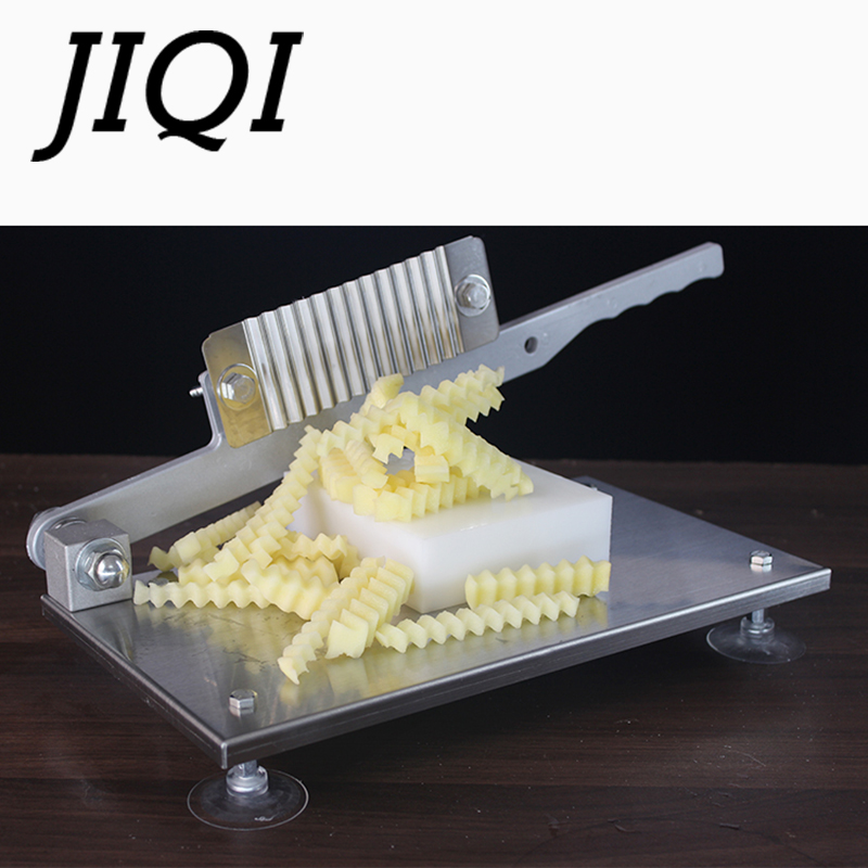 JIQI Food Slicer Wavy Potato Machine Stainless Steel French Strip Cutting Machine Waves Vegetable Cutting Tool Slicer stainless steel potato slicer chip cutter crinkle wavy with plastic handle