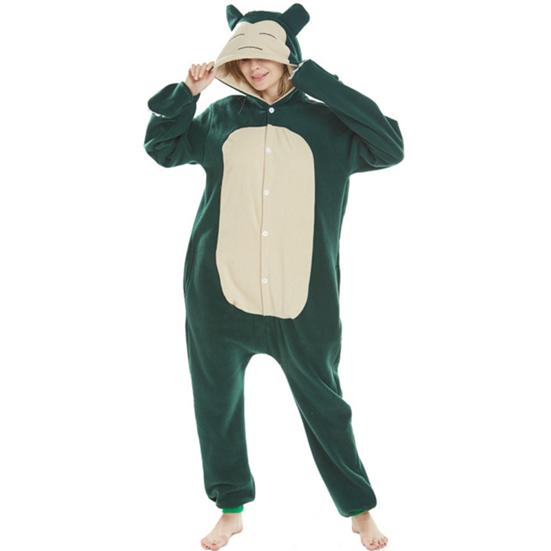 Japanese Anime Poke*mon Cute Fat Snorlax Elf Onesie Party Cosplay Fleece Onesies Sleepwear Pajamas Halloween Adult Kid Jumpsuit