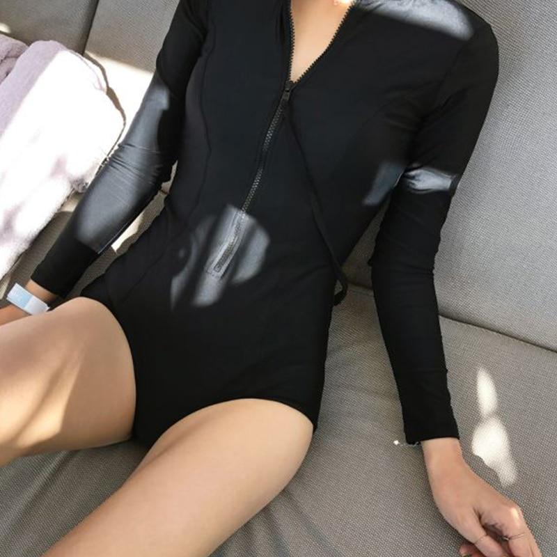 VERZY 2018 Women New Solid Black One Pieces Sexy Monokini Swimwear Long Sleeves Zipper Fitness Body Building Swimsuit Neoprene black zipper design long sleeves shirt
