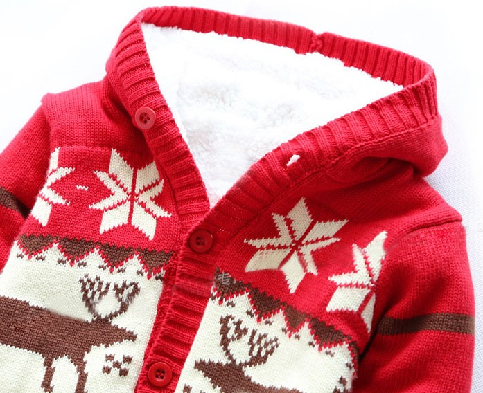 Winter Christmas elk Newborn baby rompers Thickening lambwool ...