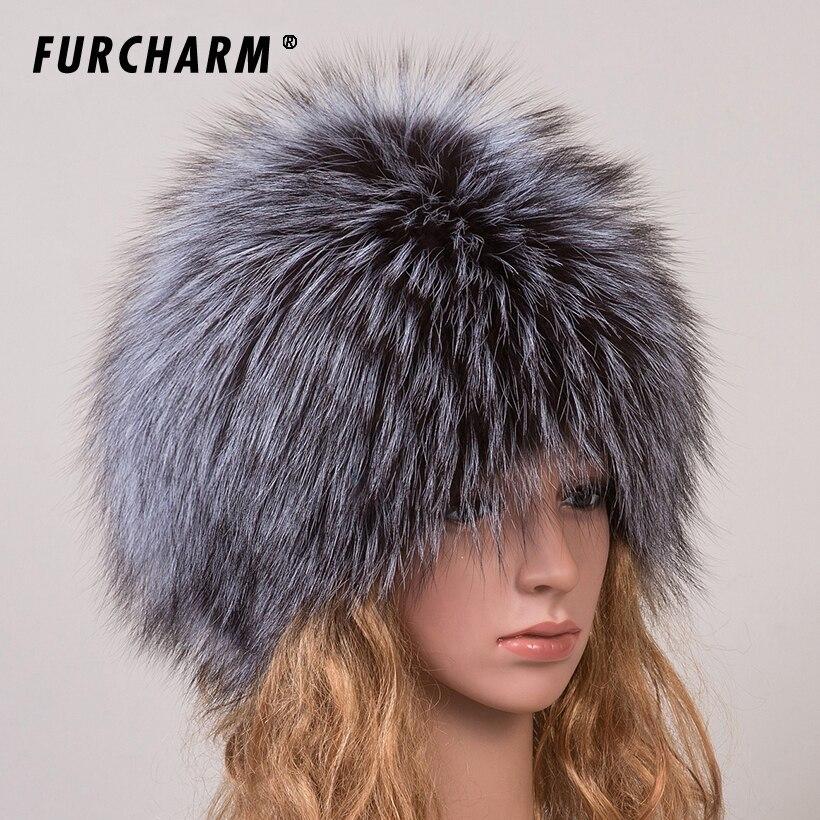 Winter Fur Hats for Girls Genuine Fox Fur Knitted Cap Silver Fox Fur Caps Female Russian Fur Hats Women's Winter Hats