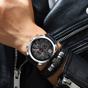 Image 5 - CURREN Reloj de pulsera deportivo para hombre, correa de cuero, cronógrafo, resistente al agua, 30 M, 2019