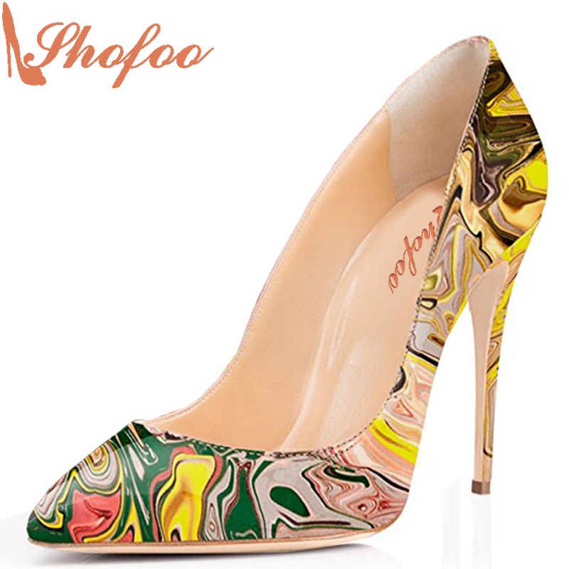 Shofoo Women Shoes Pleather Sexy Pumps Jane Fonda Style Thin High Heels Shoes Leopard White Wedding Evening Shoes Size 33 47