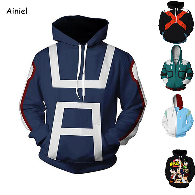 Anime My Hero Academia Izuku Midoriya Cosplay Costumes Sweater Sweatshirts Casual Coat Hoodie Autumn Women Halloween Adult Men