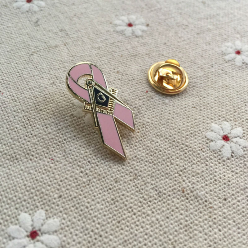 Freemason Pink Ribbon Lapel Pin