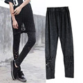 street harajuku styal Vintage Cotton High elastic summer leggings for women hollow out Sexy leggings  jeggings Women's Clothing