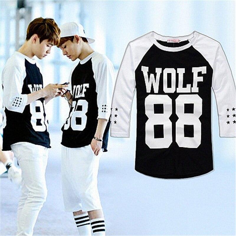 New 2014 brand fashion exo t shirt star style white wolf ...
