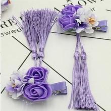 New children's hairpin beautiful flower tassel hand cloth baby headdress princess card student tassel hair clip недорого
