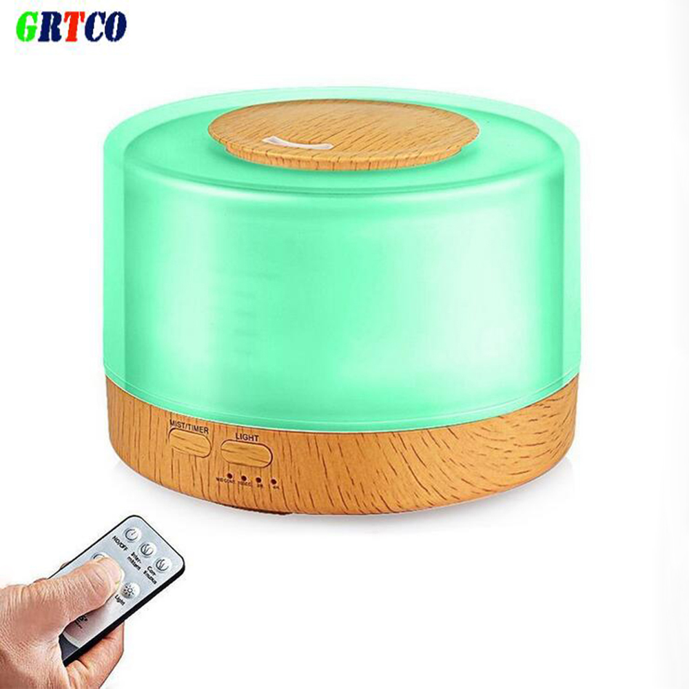 GRTCO 500ML Essential Oil Diffuser Wood Grain Base Aroma Air Humidifier Ultrasonic Cool Mist Humidifier With Remote Control aroma oil diffuser ultrasonic humidifier remote control 10s 2h 4h timer 500ml tank lamp wood ultrasonic humidifiers for home