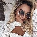 Aoubou marca eye cat óculos de sol espelho óculos de sol óculos de diamantes de luxo para as mulheres de aço inoxidável rosa gafas de sol de policarbonato 7108