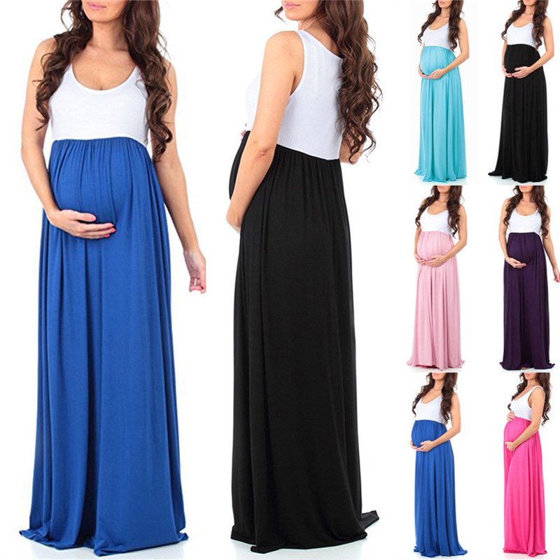 Women Mommy Pregnant Maternity Clothing Women Lace Maternity Long Dress Maxi Plus Size P ...