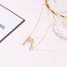 "Simple Style Metallic ""M"" Word Pendant Thin Chain Elegant Silver Golden Necklaces For Women(China)"