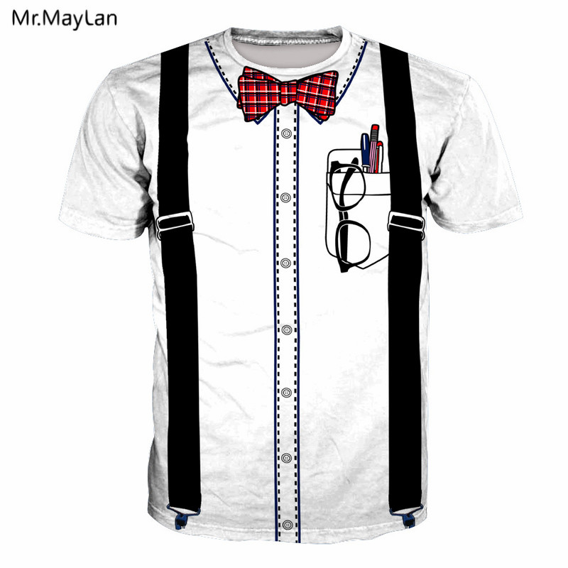 2019 Nieuwste Ontwerp Nep Bib Strikje Bril Pennen Print 3d T-shirt Mannen Vrouwen Hip Hop Wit Tee T-shirt Hipster Streetwear Jongen Tshirt Kleding 5xl 6xl Een Onmisbare Soevereine Remedie Voor Thuis