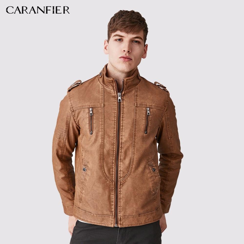 CARANFIER Heren Fleece dikke leren jas Casual bovenkleding Mode zakenlieden Stijl knoppen Stand kraag warme winddichte jas