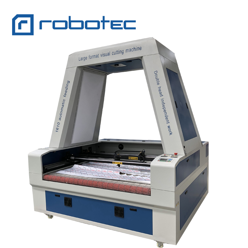 Embroidery Badges Textile Fabric Cloth Label RTJ 1610 Vision CCD Laser Cutting Machine Price For Sale