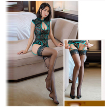2017 Autumn hot peafowl embroidery cheongsam women sleepwear backless sexy lingerie female nightwear erotic lingerie teddy sexy