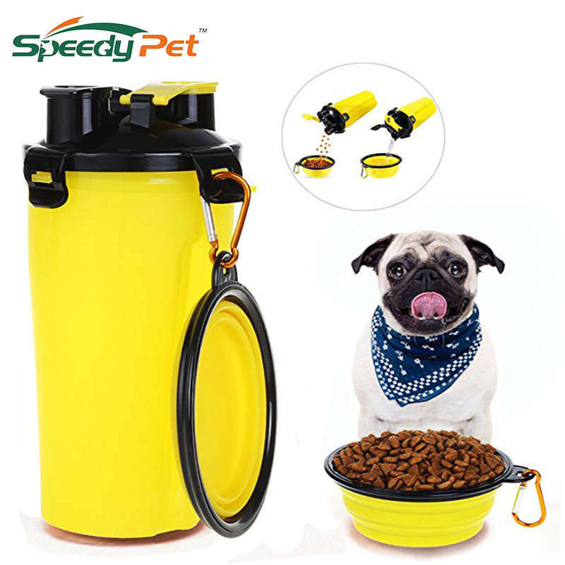 4 Color Travel 2 in 1 Pet Food Water Bottle with Bowl Dual Chambered Storage Container with Collapsible Dog Pet Cup Pet Supplies