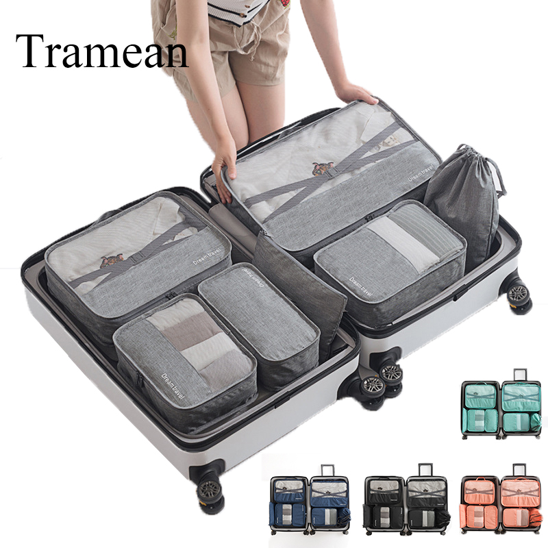 7pc Travel Bag Set Luggage Bag Waterproof Organizer Packing Cubes Breathable Mesh Packing Travel Duffle Bag