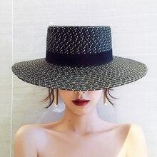 Nova chegada de moda preto e branco chapéu de palha plana praia fedoras  elegante chapéu de proteção solar protetor solar respirá. a2ec64ea3ec