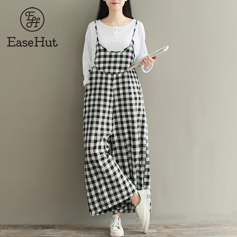 EaseHut Plus Size 3XL Rompers Women Check Plaid 2019   Jumpsuits   Overalls Vintage Strappy Casual Loose Harem Pants Long Trousers
