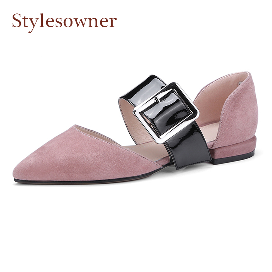 Stylesowner spring summer newest suede leather single shoes women pointed toe big belt buckle patchwork women casual shoes flats cresfimix women cute spring summer slip on flat shoes with pearl female casual street flats lady fashion pointed toe shoes