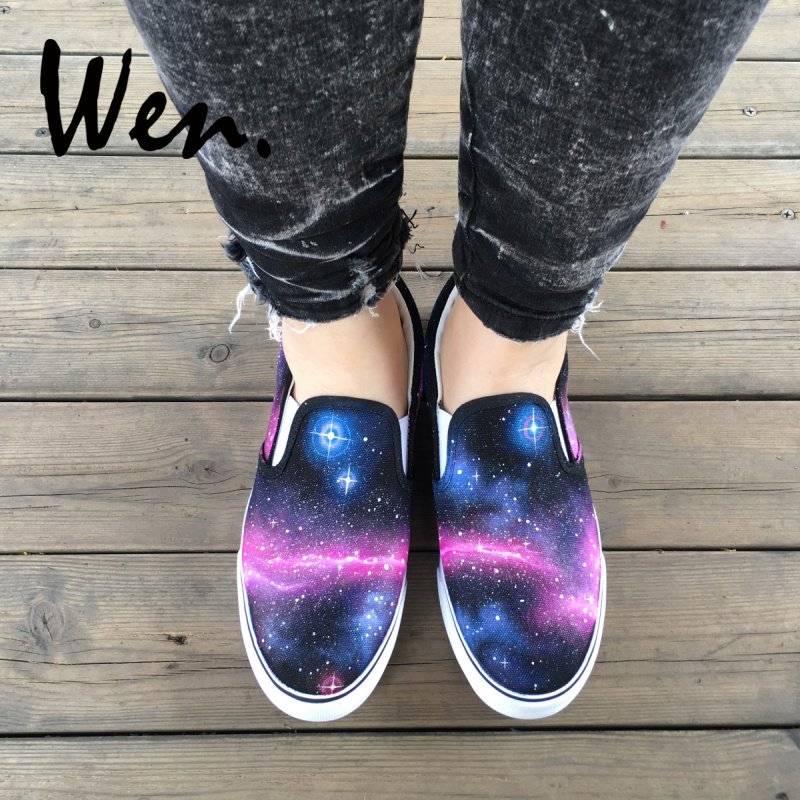 Wen <font><b>Unisex</b></font> Black Slip On <font><b>Shoes</b></font> for Man Woman Original Design Galaxy Nebula <font><b>Skateboarding</b></font> <font><b>Shoes</b></font> Low Top Canvas Sneakers image