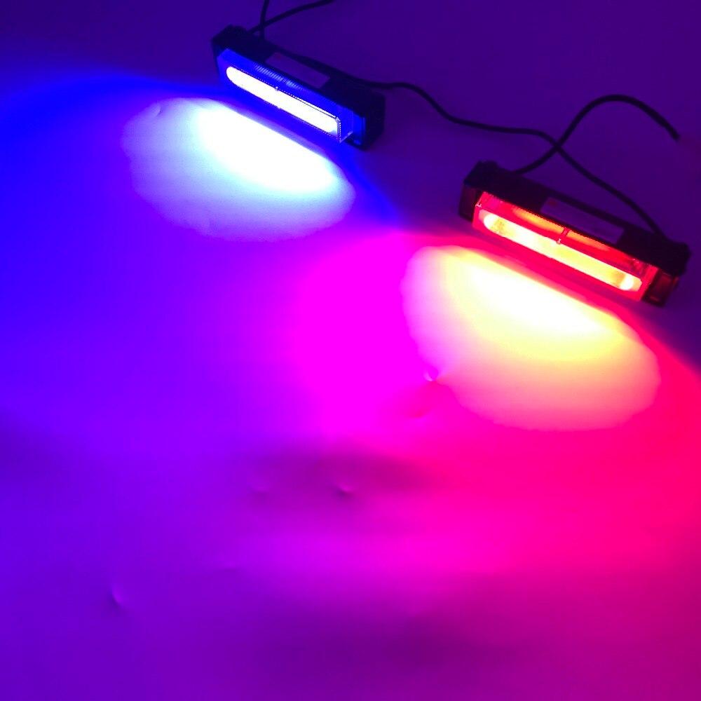 2x cob LED Car Strobe Flash Light Modes Auto Warning Light 12W High Power Caution Lamp Free Shipping