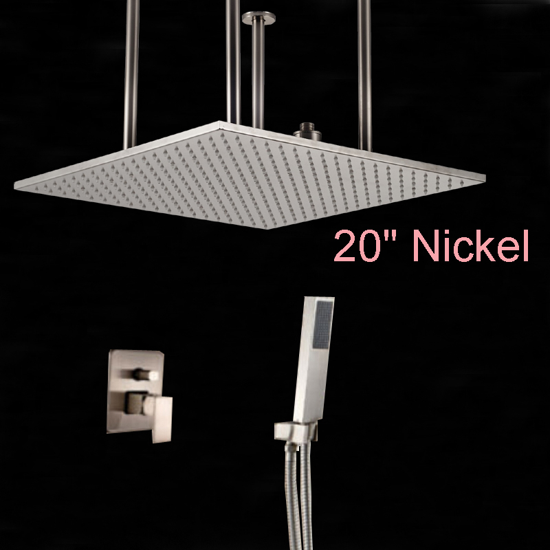 Wholesale And Retail Brushed Nickel 20 Square Rainfall Shower Head Ceil