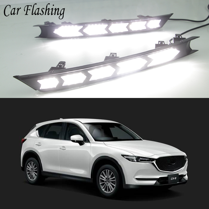 US $60 0 20% OFF Car Flashing LED Daytime Running Lights For Mazda cx 5 cx5  cx 5 2017 2018 drl fog lamp 12V DRL Driving lights with turn signals-in